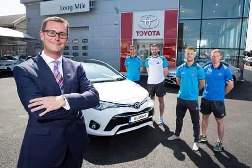 Alex Burns at Toyota Long Mile Road along with Dublin footballers Jonny Cooper and James McCarthy as well as hurlers Peter Kelly and Johnny McCaffrey