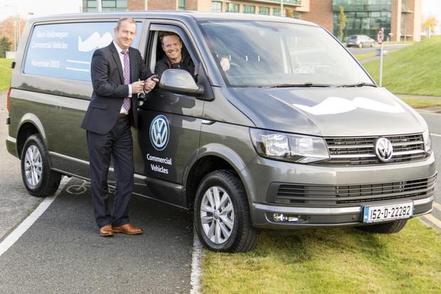 Pictured at the handover of the Transporter is Alan Bateson, MD Volkswagen Commercial Vehicles and Neil Rooney, Movember Ireland Country Manager.