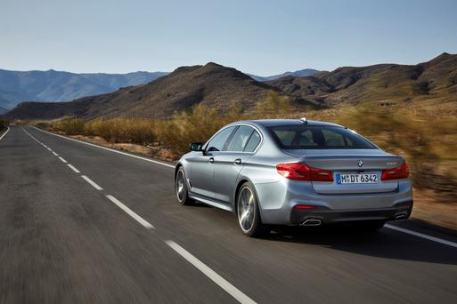 The rear view of the BMW 5 series