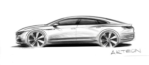 The sketch outline of what the car will look like