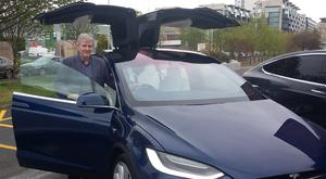 Eddie with the Tesla Model X in Dublin