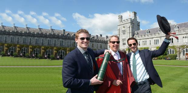 William Clay Ford Jr, executive chairman of the Ford Motor Company, with his sons Will and Nick following the conferring of an honorary doctorate at UCC last week.
