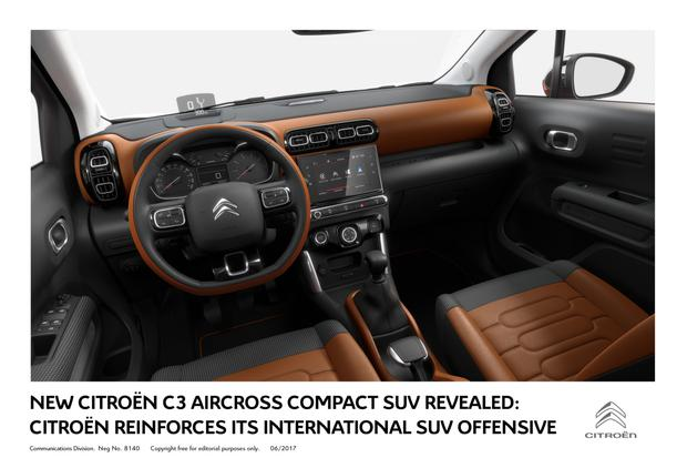 The interior of the Citroen Aircross