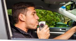 Driver gets breath test. Stock photo