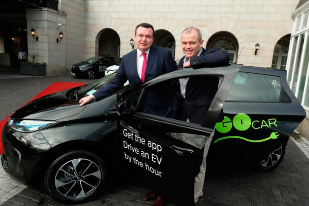 Paddy Magee, country operations director, Renault Group and Colm Brady of GoCar at the announcement of ZOE cars joining the pay-as-you-go fleet.