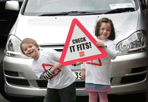 Neil and Jane Merriman, both aged 4 from Chruchtown, Dublin, pictured here launching the Road Safety Authority