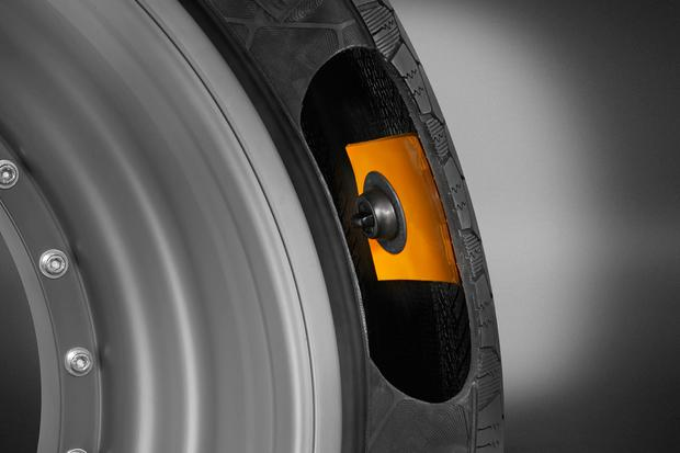 The ContiSense tyre which remotely transmits data including pressure, temperature, tread depth and puncture detection