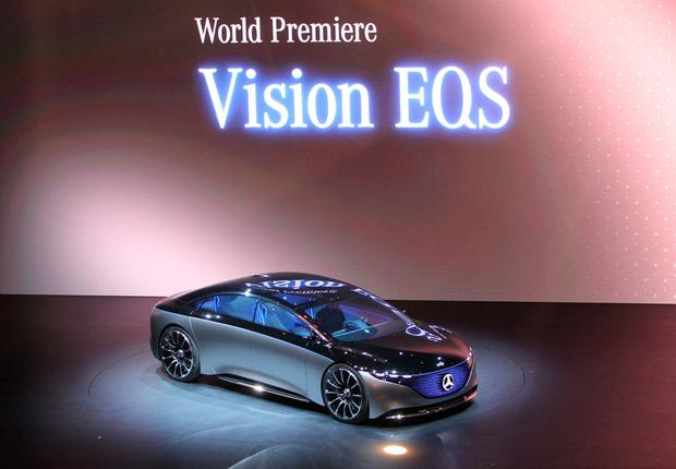 The Mercedes Vision EQS of German car maker Mercedes is pictured at the company's booth at the Frankfurt motor show