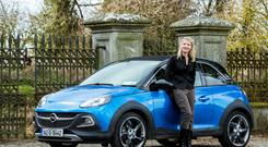 Funky: Geraldine Herbert with the new urban crossover from Opel. Photo: Kyran O'Brien