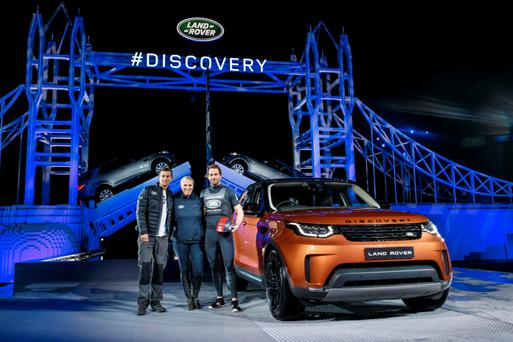 Big reveal: The unveiling of the Land Rover Discovery in Paris on the eve of the show. Photo: Nick Dimbleby/Land Rover via AP