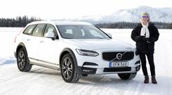 Sophisticated: Geraldine Herbert with the new Volvo V90 Cross Country