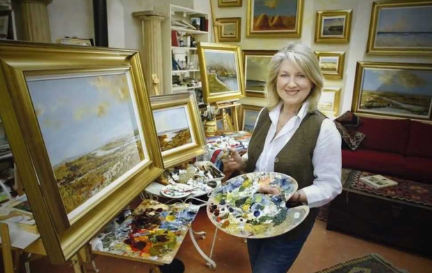 The vibrant Thelma Mansfield painting in her studio