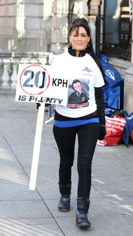 Roseanne Brennan, from Kilkenny, who lost her six-year-old boy, Jakie, he was killed outside his home in Kilkenny last June on the second day of her three-day vigil outside the gates of Leinster House. Picture credit; Damien Eagers