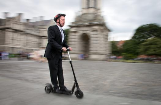Terence Cosgrave on his E-Skoot electric scooter