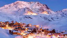 The town of Val Thorens, surrounded by snow-capped peaks