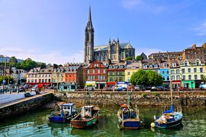 A view of Cork Harbour and Cobh Cathedral