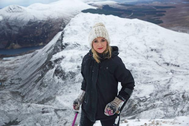 Nikki Bradley on mount Errigal, Donegal. Bradley is a survivor of Ewing's sarcoma, a rare form of bone cancer. Photo: Paul Doherty (pauldoherty.ie)