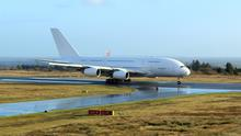 The Airbus A380 landing at Ireland West Knock on February 20, 2020.