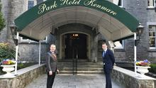 John Brennan and TJ Mulcahy practise social distancing at the Park Hotel Kenmare