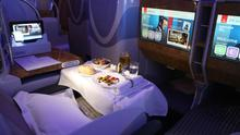 A sample of Emirates Airlines business-class travel in 2017 at the Dubai Air Show in Dubai, United Arab Emirates. Bloomberg photo by Natalie Naccache