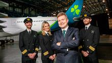 First Officer Niall McCauley;First Officer Laura Bennett;Sean Doyle, Aer Lingus Chief Executive;and First Officer Paul Deegan. Pic: Naoise Culhane