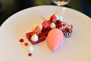 'Rhubarb with Hibiscus' at Dinner by Heston. Photo: Pól Ó Congaile
