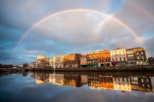 A rainbow over the  quays in Dublin. Photo: Getty/David Soanes