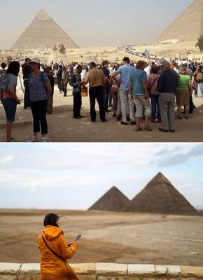 Crowds at the Pyramids of Giza in Egypt in an archive photo from 2014 (Getty), and another image taken this week (bottom) by Mohamed el-Shahed / AFP.