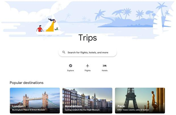 Google Trips, the new landing page