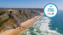 Portugal's Algarve, with the new 'Clean & Safe' stamp (inset)
