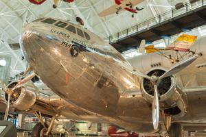 Chantilly- USA: A Boeing 307 Stratoliner Flying Cloud on Display at the Smithsonian Air and Space Museum. The then-futuristic airliner first took to the skies in 1938.