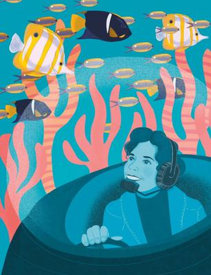 Sylvia Earle. Illustration by Amy Blackwell for 'The Woman Who Rode A Shark' (AA Publishing)