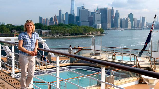 Karen on the Queen Mary 2, as she arrives in New York City. Photo: PA Photo/Karen Bowerman.
