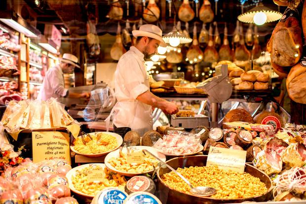 A Food store showcase full of food in Bologna. Photo: Deposit