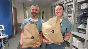 Staff at Dublin's Mater Hospital with a donated meal. The photo, posted on Twitter by Andrew Ngaditono, inspired the 'Feed the Heroes' GoFundMe campaign.