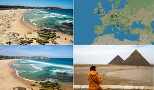 A composite of images shows scenes before and after the closure of Sydney's Bondi Beach (left, photos by Jenny Evans/Getty Images), a dramatic reduction in Ryanair flights (top right; screengrab from radarbox24.com) and empty spaces surrounding the pyramids at Giza in Egypt (bottom right; photo by Mohamed el-Shahed / AFP via Getty).