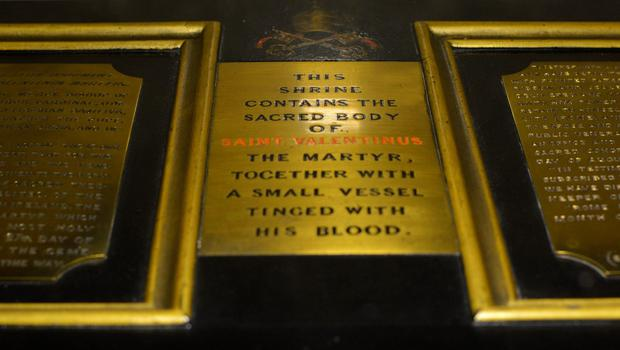 St Valentine's relics are contained within a casket at the Whitefriar Street Church in Dublin. Photo: Pól Ó Conghaile