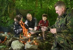 A family enjoying socially-distanced bush camp at Westport House under  the direction of expert Patsy McSweeney