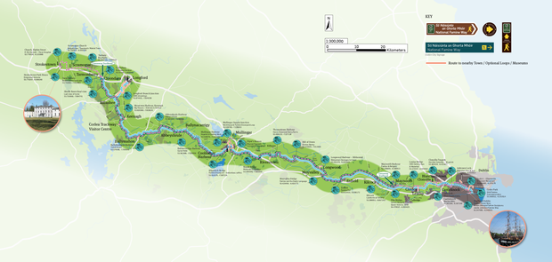 A screenshot of the new National Famine Way OSI Trail Map