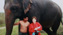 Lorna Vinall went on an elephant ride in the jungle in Nepal