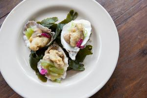 Crispy Dorset Oysters Served in the Shell - The Pig Restaurant and Hotel - New Forest, UK