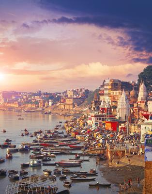 Holy town Varanasi and bank of the Ganges