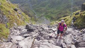Nikki Bradley climbing Devil's Ladder, Carrauntoohil, Co. Kerry. Photo: Twitter / @nikkibspeaks