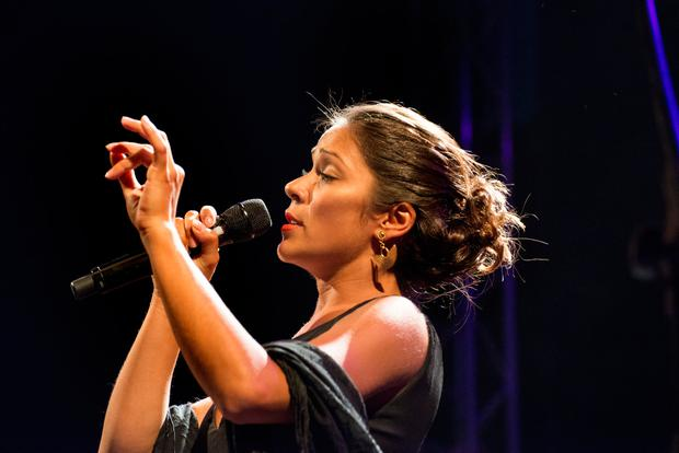 Portuguese Fado singer Raquel Tavares in concert at the Festival Med, Loulé, Portugal. Photo:Judith Burrows/Getty Images