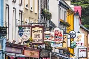Colourful street signs along the road in Kenmare