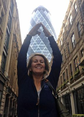 Orla Clancy at the Gherkin in London. 'Looking forward to travelling again,' she says. Photo: Twitter / @balloonsbyorla
