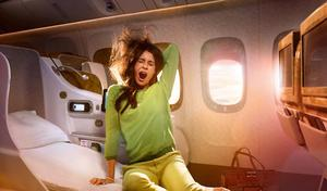 Emirates Business Class, with 79-inch lie-flat seats...