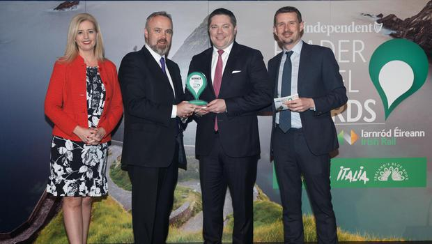 Ireland's Favourite Hotel: Adare Manor, Co Limerick. Sinead Ryan, Cormac Bourke, Editor, Irish Independent, Paul Heery and Pól Ó Conghaile at the Irish Independent Reader Travel Awards 2020 Photograph: Fran Veale