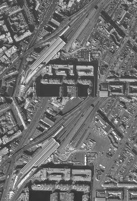 Two satellite images show Connolly Station and surrounding traffic in Dublin on March 10 and March 22, 2020. Satellite image ©2020 Maxar Technologies.