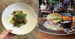 Two dishes from Center Parcs: hake at Cara's, and a burger at the Sports Bar. Photos: Pól Ó Conghaile